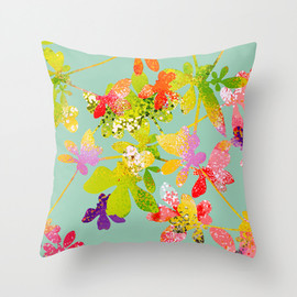 Ranunculus, Hydrangeas, Succulents Throw Pillow