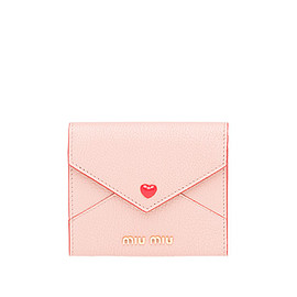 MIUMIU - MADRAS LEATHER WALLET WITH LOVE LOGO