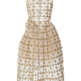 SIMONE ROCHA - Gold Floral Check Sleeveless Dress