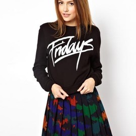 asos - ASOS Cropped Sweatshirt with Fridays Print
