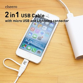 cheero - 2in1 USB Cable with micro USB and Lightning connector Charge & Sync (60cm)