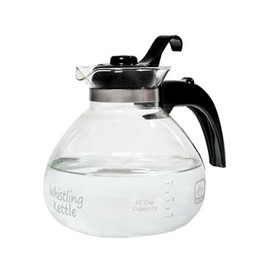 Medelco - 12 Cup Glass Stovetop Whistling Tea Kettle
