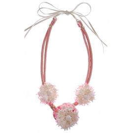 Fushia and bamboo necklace