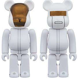 MEDICOM TOY - BE@RBRICK DAFT PUNK (WHITE SUITS Ver.) 2 PACK GUY-MANUEL de HOMEM-CHRISTO/ THOMAS BANGALTER 100%