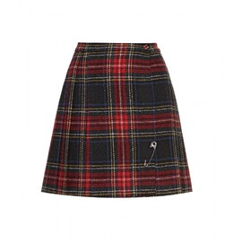 SAINT LAURENT - FW2014 KILT MINI SKIRT IN RED, YELLOW AND BLUE TARTAN WOOL