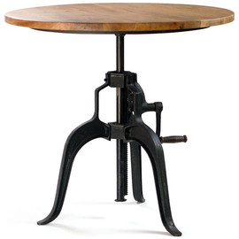 CRASH Industrial Supply - Carnegie Industrial Style Bar Table with Crank, Wood Top industrial dining tables
