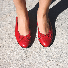 CHANEL - red ballet flats