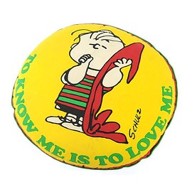 """SNOOPY - """"TO KNOW ME IS TO LOVE ME"""" Linus Cushion 70's"""