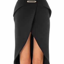 BALENCIAGA - Metal bar bonded crepe pencil skirt