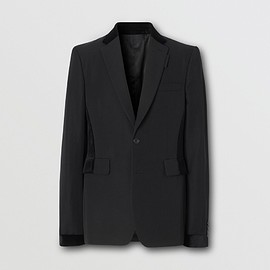 BURBERRY - Classic Fit Velvet Trim Wool Tailored Jacket