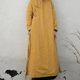 large size winter robe - Blue large size winter robe yellow Winter padded long coat