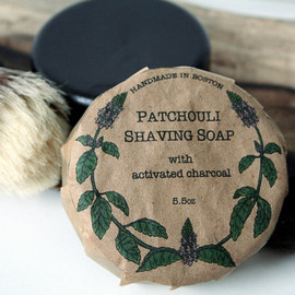 TheBowerStudio - Patchouli Shaving Soap with Activated Charcoal - 5.5oz