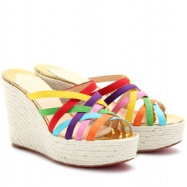 Christian Louboutin -  CREPON 100 RIBBON WEDGES