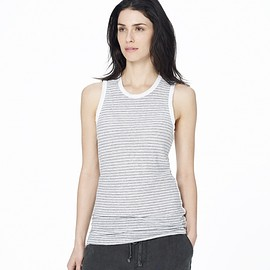 JAMES PERSE - STRIPED LINEN COTTON TOMBOY TANK