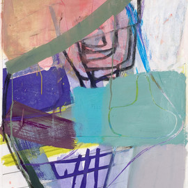 Amy Sillman - Untitled (#3), 2008, gouache, chalk and pencil on etching on paper