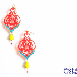 Ostara - Red Filigree Earrings with Caribbean Blue Opal Swarovski Chain and Vintage glass