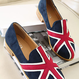 shoes - Image of European Style Mixing Color Union Jack Print Loafers
