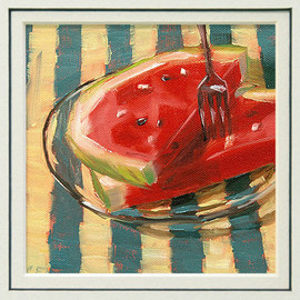 "Luulla - Limited edition giclee print, from a still life painting of watermelon, with 8x10 mat, ""Sum-Sum-Summer Time"""