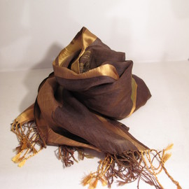Dries Van Noten - camouflaging satin stole on gold