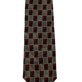 Ermenegildo Zegna - Ermenegildo Zegna Blue/Red Geometric Square Print Silk Necktie Made in Italy