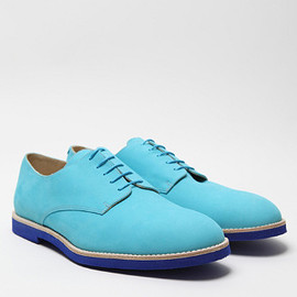 T & F Slack, oki-ni - Nubuck Turquesa Derby Shoes with Micro Sole