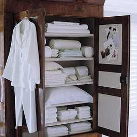 Linen Closet in a Beautiful Armoire!