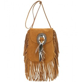 SAINT LAURENT - SS2015 ANITA SUEDE SHOULDER BAG WITH FEATHERS