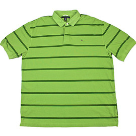 TOMMY HILFIGER - Tommy Hilfiger Green Striped Polo Shirt Mens Size XXL