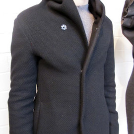 M.A - Hooded 3 snap button wool lined long coat