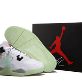 shoeslongs - Retro Jordan 4 Glow In The Dark White/Grey/Red Mens Shoes