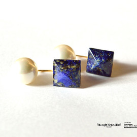 Rough'N'tumble - Lapis lazuli back pearl pierce