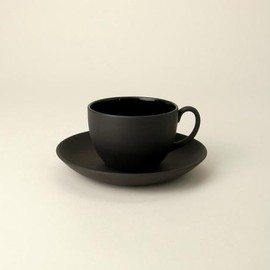 WEDGWOOD - Black basalt Coffee Cup & Saucer