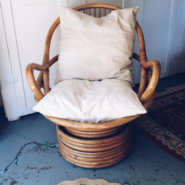 LOCAL PICKUP ONLY vintage bamboo swivel chair