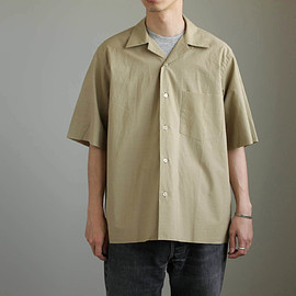 AURALEE - SELVEDGE WEATHER CLOTH OPEN COLLARED H/S SHIRTS #khaki