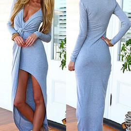 Sexy Low-cut V-neck Front Slit Long-sleeved Dress