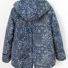 Retro Folk Style Totem Print Overall Mixing Color Hood Coat