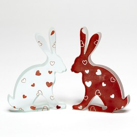Luulla - Love Heart Glass Hare Pair Sculpture