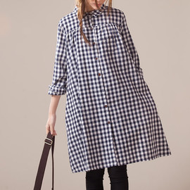 dress - Cotton knee length Single breasted long dress large size plaid dress