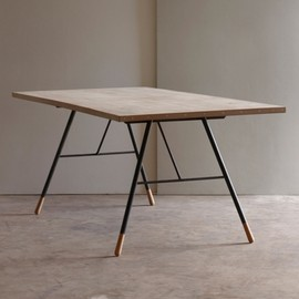 Unknown - Tipped Dining Table - Reclaimed whitewashed pine and steel