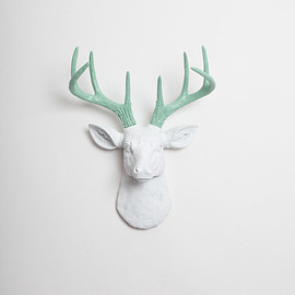 White Faux Taxidermy - White Faux Deer Head