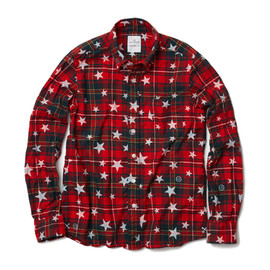 uniform experiment x ENGLATAILOR  - STAR PATERN FLANNEL CHECK B.D SHIRT