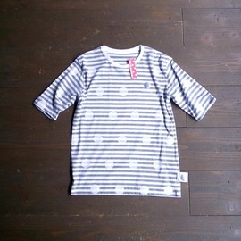 CHICKENNOT - 五分袖 ボーダードットTEE GREY-WHITE BORDER/WHITE DOTS