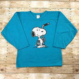 VINTAGE - Vintage 90s Snoopy Hockey Sweater Teal Jersey Made in Canada Mens Size Small