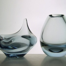 Per Lutken / Holmegaard - small vase & flame bowl, glass