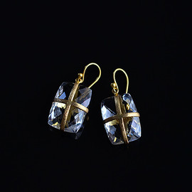 Tej Kothari - Cross Set Faceted Square Crystal Earrings