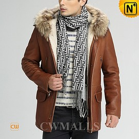 cwmalls - Milan Shearling Jacket with Hood CW858350