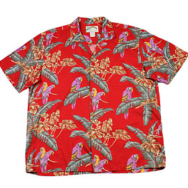 VINTAGE - Vintage Red Hawaiian Shirt Purple Parrot Print Made in Hawaii Mens Size Large