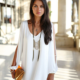 Fashion V-neck Slit Sleeve High-low Hem Dress