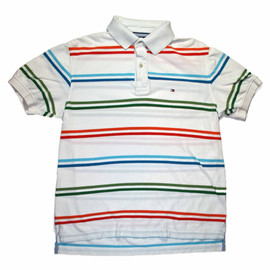 TOMMY HILFIGER - Vintage 90s Tommy Hilfiger Striped Polo Shirt Mens Size Medium