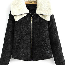 fashion - Image of [grzxy6600826]Fashion Simple Casual Double Lapel Collar Short Thicken Padded Jacket